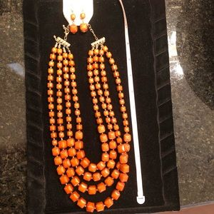 Burnt orange rust statement necklace and earrings